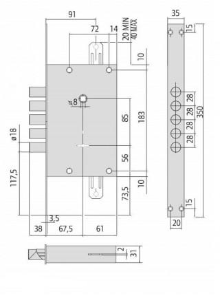 Замок врезной CISA 57.675 ALPS